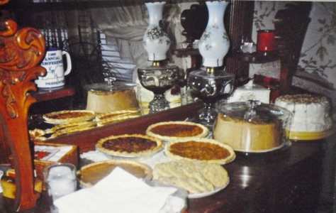 Thanksgiving at mother-in-law Nora's.  Traditional pecan pies and jam cake with caramel icing